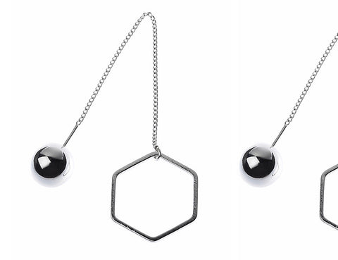 Silver Ball & Hexagon Earrings