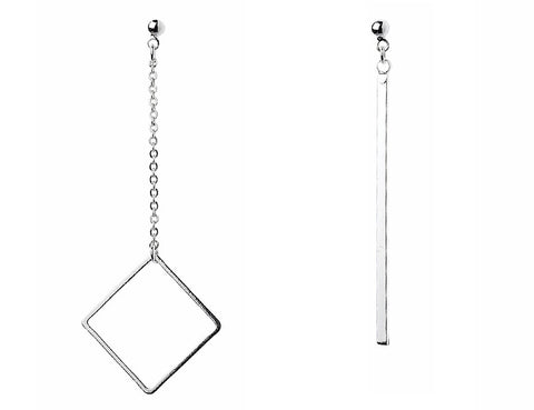 Silver Rhombus & Bar Earring Set