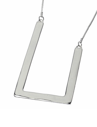 Silver Necklace with Alloy Frame