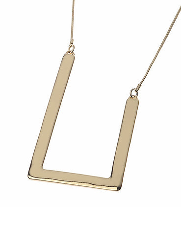 Gold Necklace with Alloy Frame