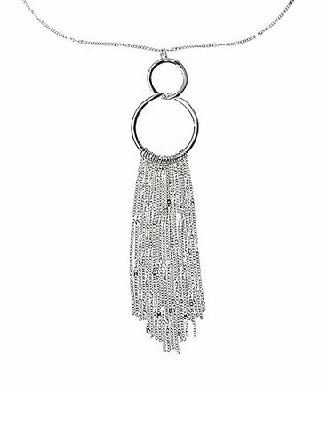 Duo-Link Silver Necklace With Tassels
