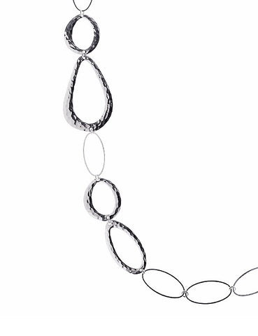 Textured Chain Necklace in Silver
