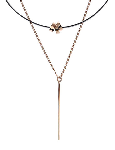 Layered Choker Necklace in Rose Gold