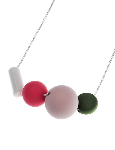 Necklace with Rubber Effect Shapes