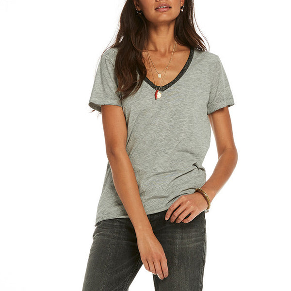 Maison Scotch, V-Neck Melange Tee
