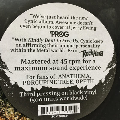 "CYNIC - ""Kindly Bent To Free Us"" (Limited Edition Vinyl LP)"