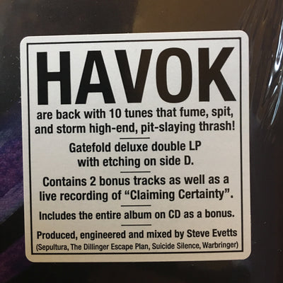 "HAVOK - ""Conformicide"" (Limited Edition Gatefold x2 Vinyl LP + Etched D-Side, Free CD)"