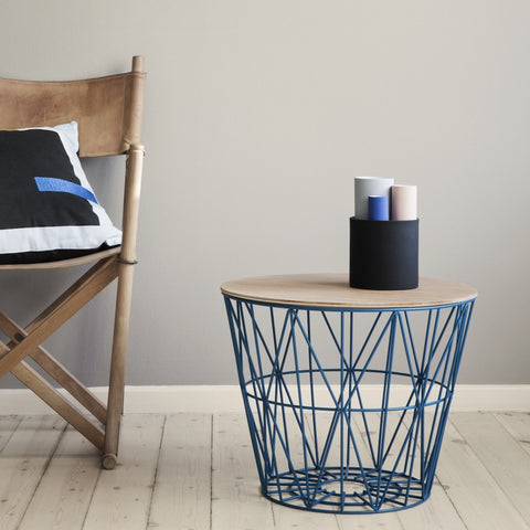 SIDE TABLE WIRE BASKET PETROL by Ferm Living