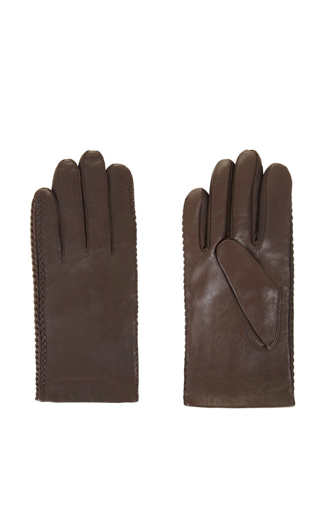 BCBG MaxAzria Whipstitch Leather Gloves M/L Maple