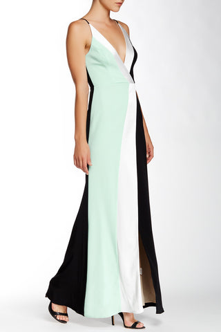 A.B.S. by Allen Schwartz Color-block Deep V Gown L Mint