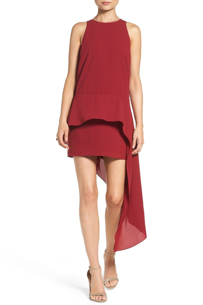 Ali & Jay Asymmetrical Georgette Peplum Dress M Currant