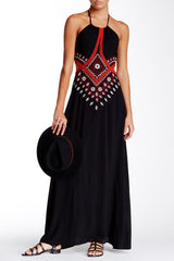 Meghan LA Alexandria Rose Maxi Dress M Black