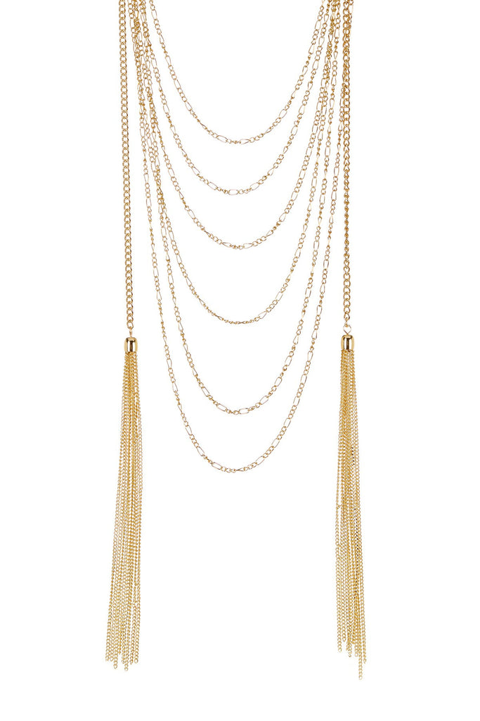 Olivia Welles Amaya Double Chain Tassel Necklace