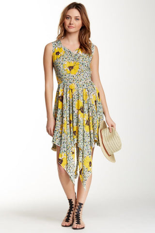Angie Bustled Back Sundress L Yellow