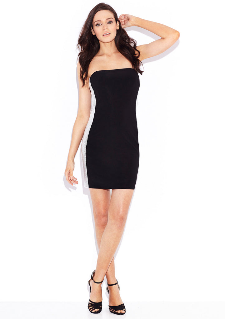 BASIX Side Panel Cocktail Dress 8 Black/Silver