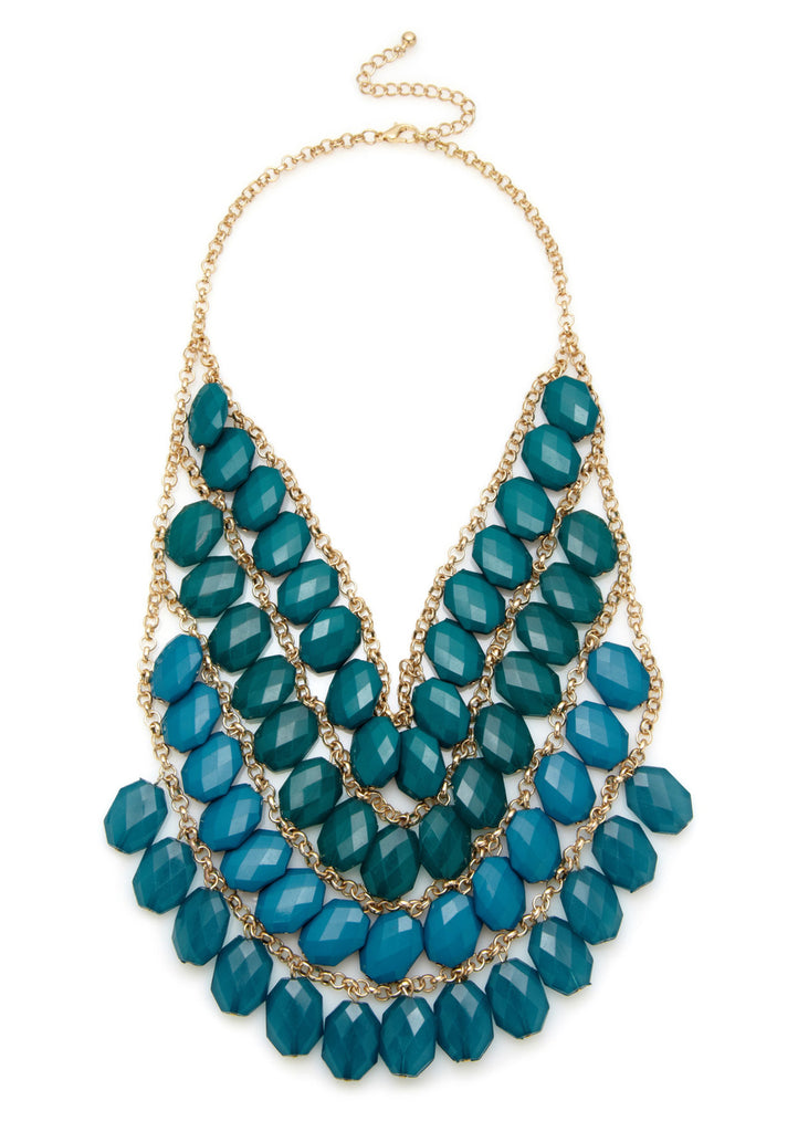 Olivia Welles Faceted Bead Multi Layer Necklace Green