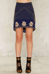 Nasty Gal Collection Bead Your Love Scalloped Skirt L
