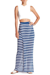 Tart Giovanna Crochet Maxi Skirt L Mazarine Blue-White Stripe