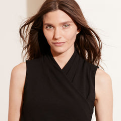 Ralph Lauren Jersey Surplice Top L Black