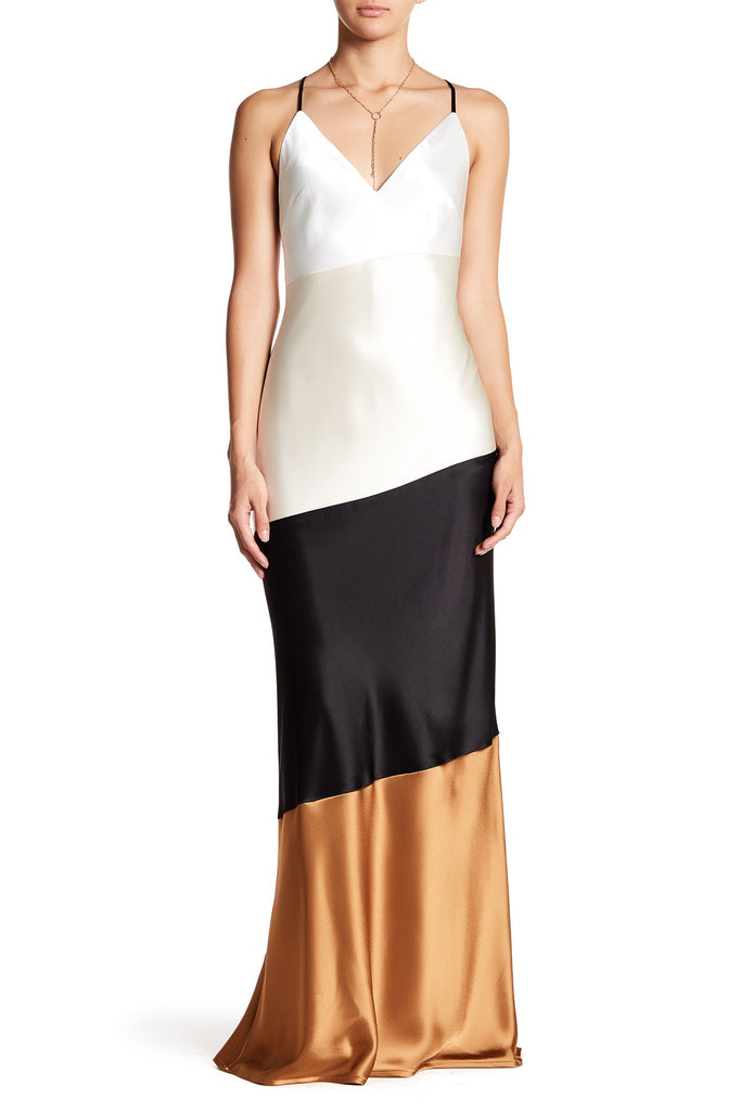 ABS by Allen Schwartz Lena Asymmetrical Colorblock Satin Slip Gown 10