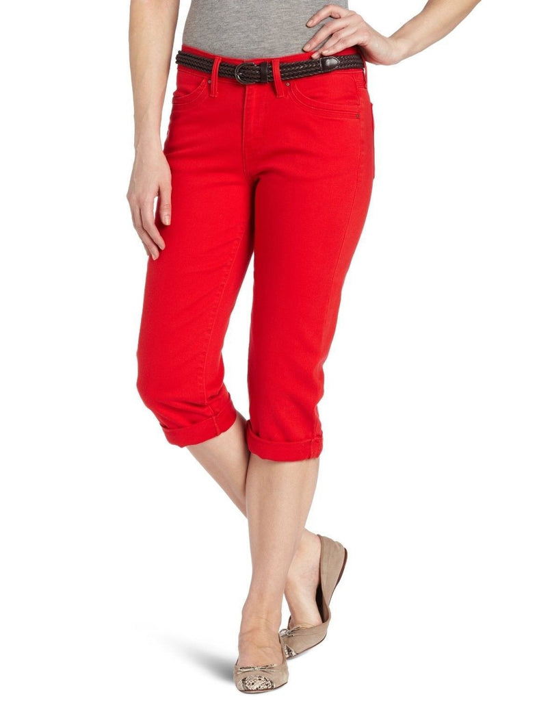 Levi's 515 Straight Leg Belted Cuffed Capri Hot Red Wash 12