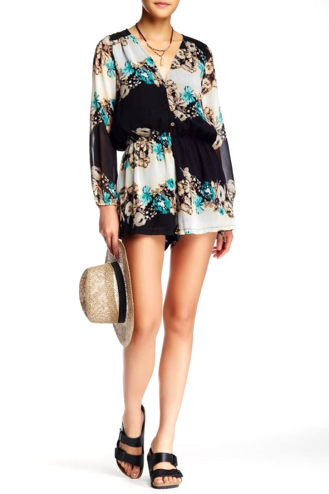 Madison Square + Wilde Heart Floral Romper M