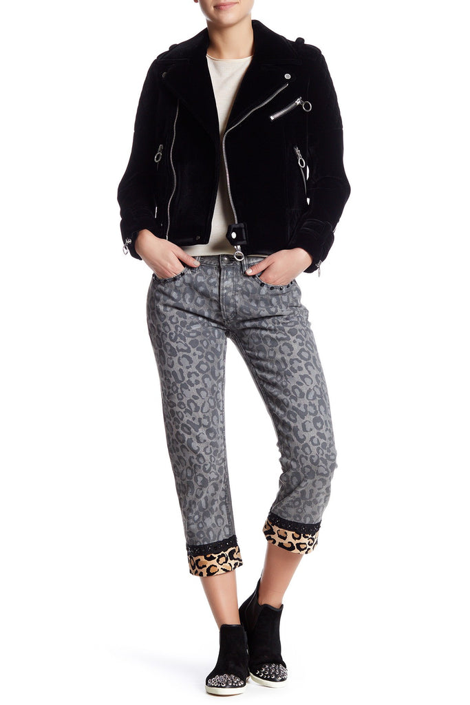 Marc by Marc Jacobs Boyfriend Cropped Jean 29 Painted Leopard Black