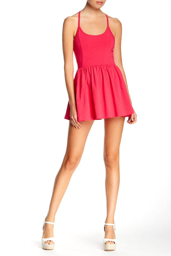 French Connection Marina Plains Double Layer Playsuit 12 Passion Pink