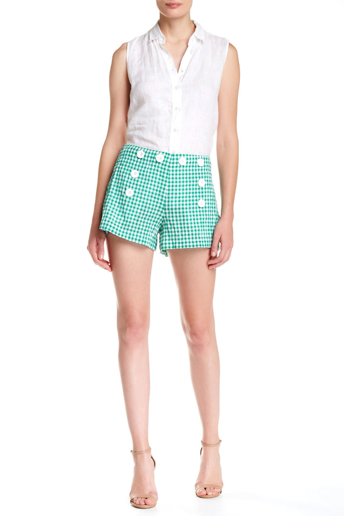 Max Studio Button Gingham Short Green 10