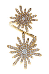 Vince Camuto Pave Starburst Crossover Ring - Size 8