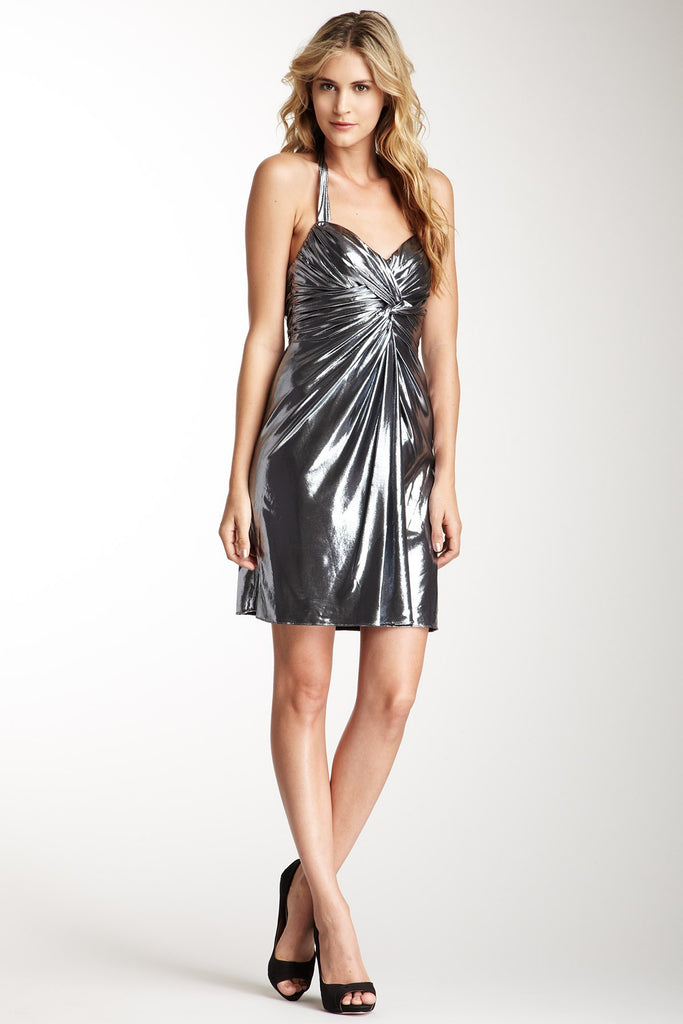 Phoebe Couture Metallic Knotted Center Halter 8 Silver