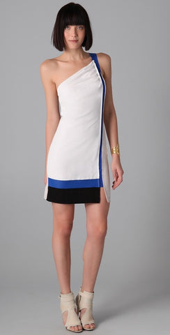 Sachin & Babi Gloria One-Shoulder Colorblock Dress 8