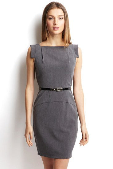 Single Cap Sleeve Square Neck Dress with Belt 10