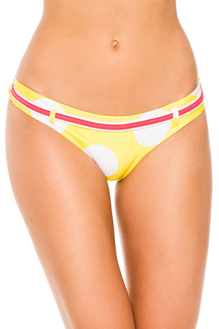 Pilyq Yellow Basic Halter Belted Brazilian Bottom L