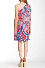 TBags Printed One Shoulder Dress XS Multi