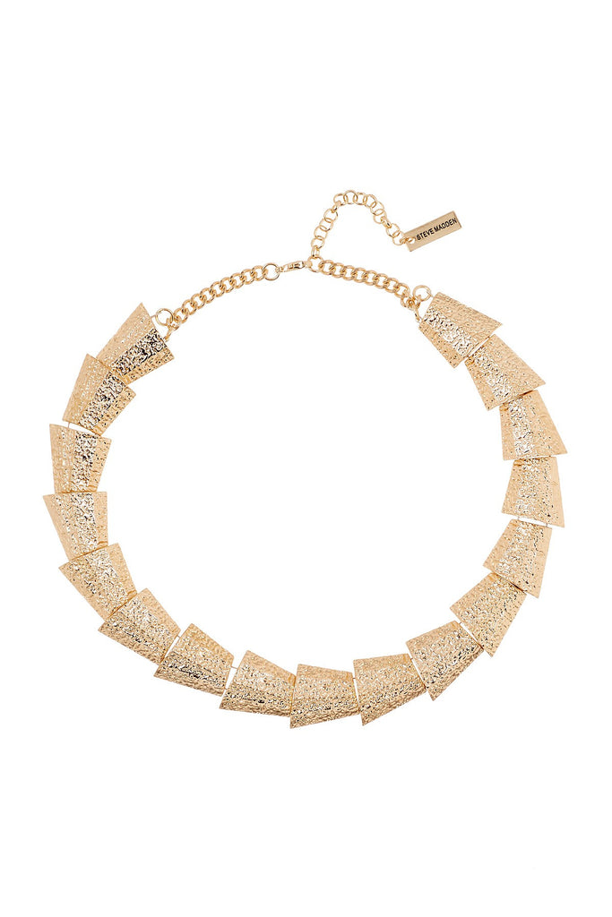 Steve Madden Multi-Triangle Textured Link Collar Necklace Gold