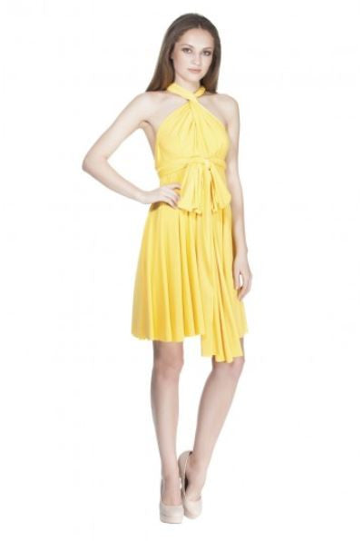Von Ronen New York Short Transformer Dress One Size Fits 0-12 Yellow