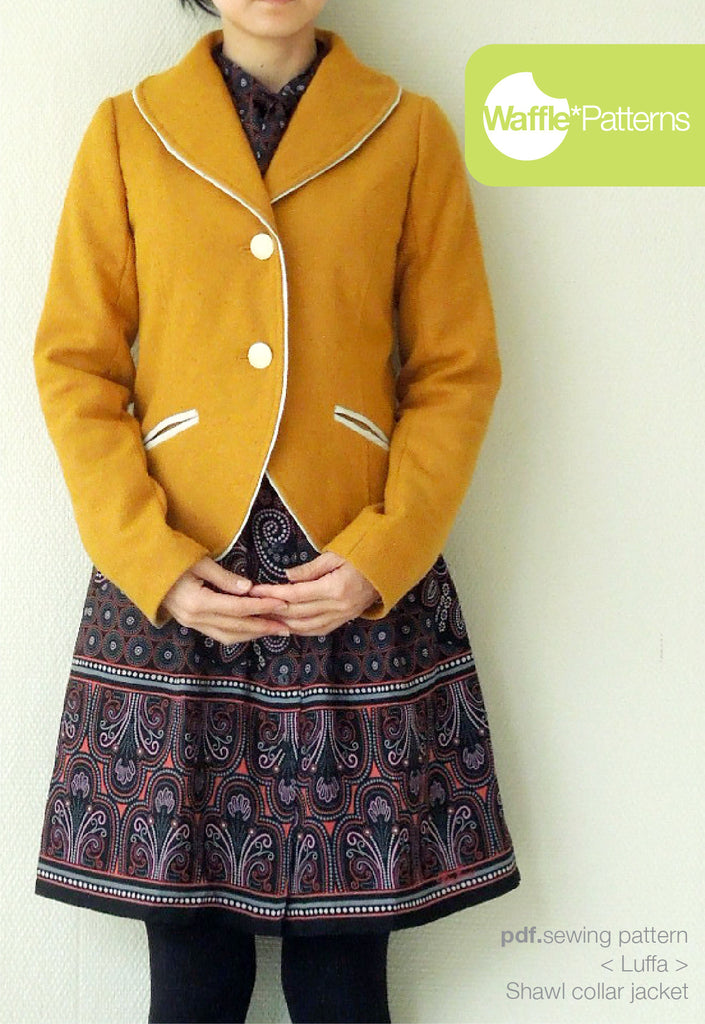 Waffle Patterns sewing patterns Shawl collar jacket Luffa