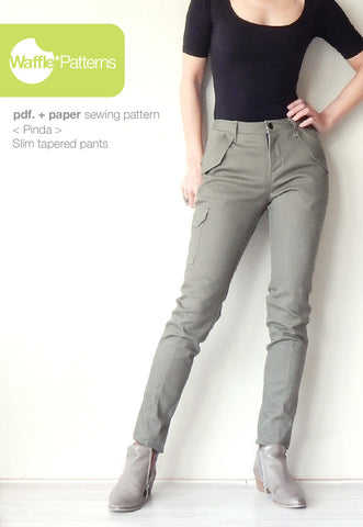 Slim tapered pants -Pinda- (size 34-48)