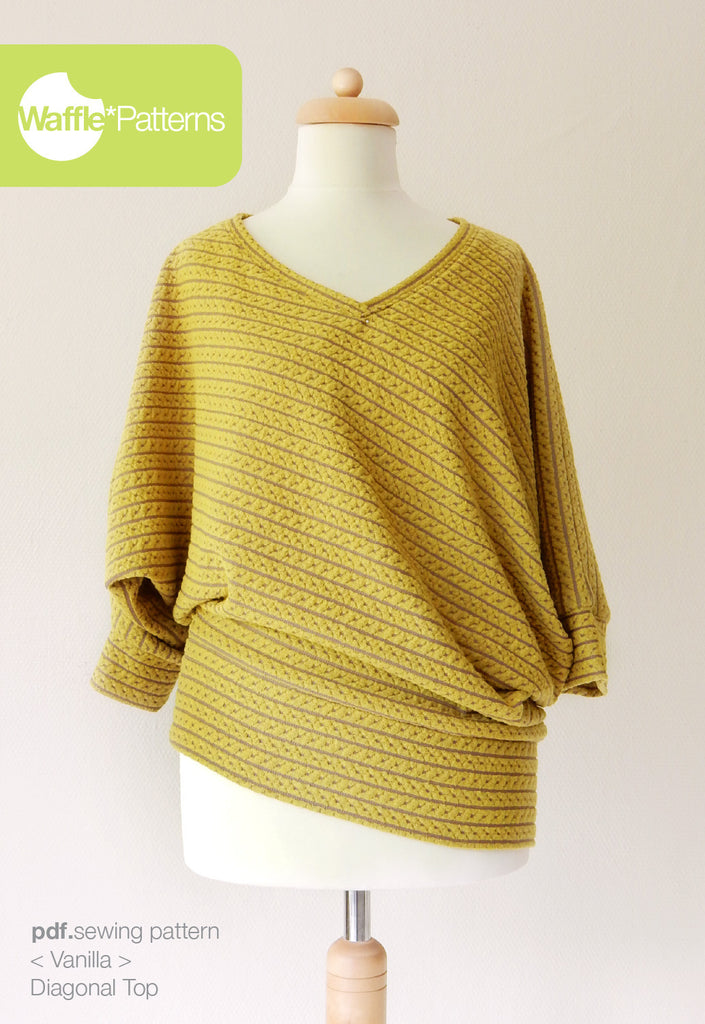 Waffle Patterns sewing patterns Diagonal Knit Top Vanilla