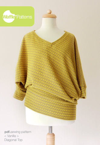 Diagonal Knit Top -Vanilla- (size 34-48)