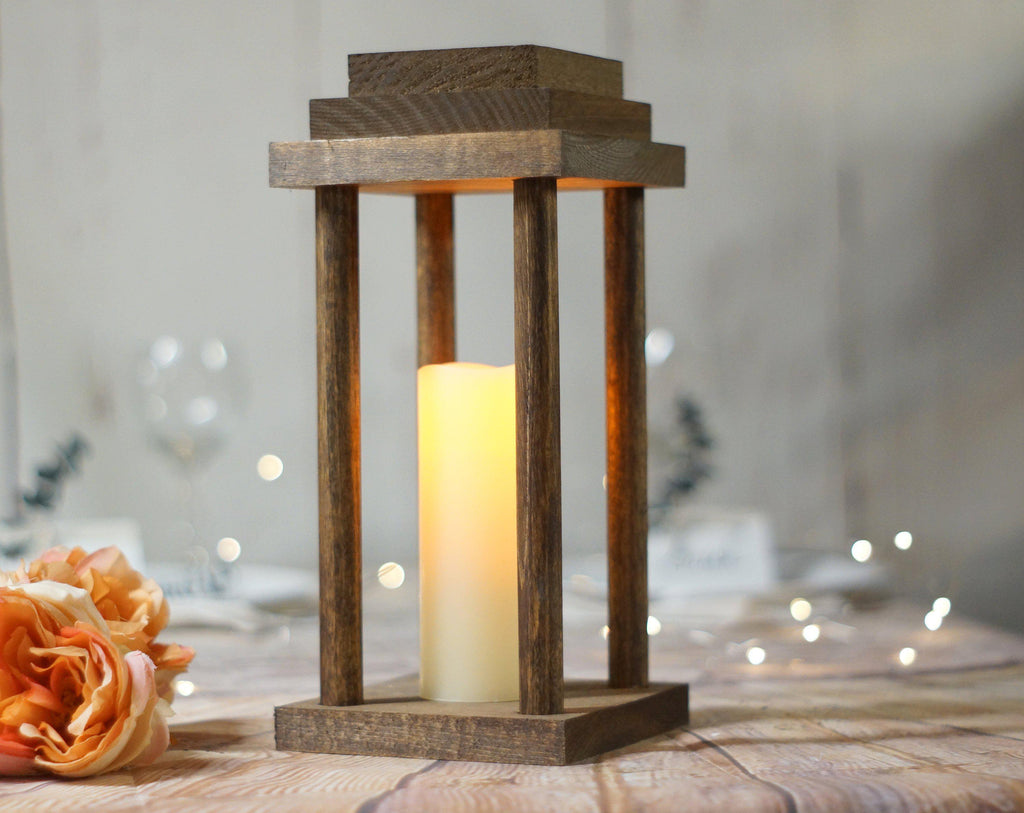"12"" Wood lantern wedding centerpiece, Rustic Wedding Decor-LANTERN-GFT Woodcraft"