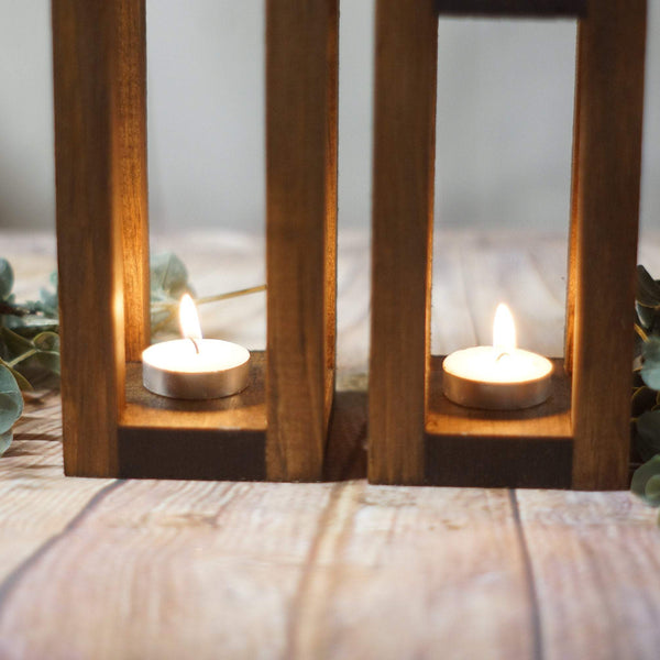 2 Wood Candle Lanterns Centerpiece, Rustic Wedding Table Decoration-LANTERN-GFT Woodcraft
