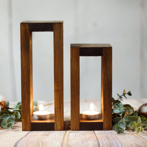 2 Wood Candle Lantern Set-LANTERN-GFT Woodcraft