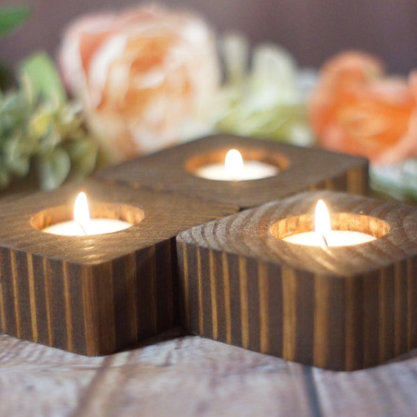 3 Reclaimed Wood Candle Holders-CANDLE HOLDERS-GFT Woodcraft