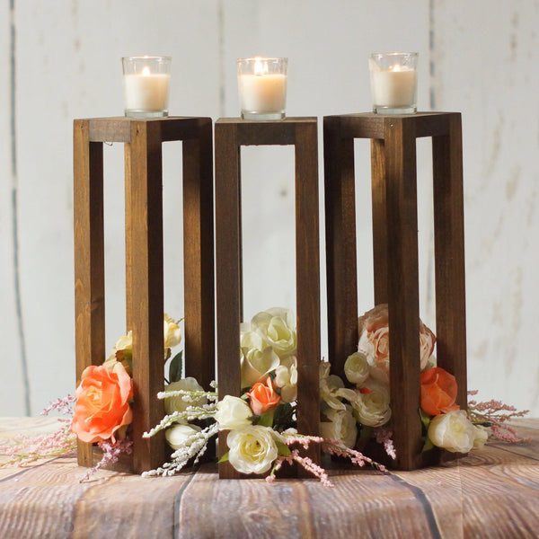 "3 Rustic Wood Candle Lantern Set 12""-Wedding-GFT Woodcraft"