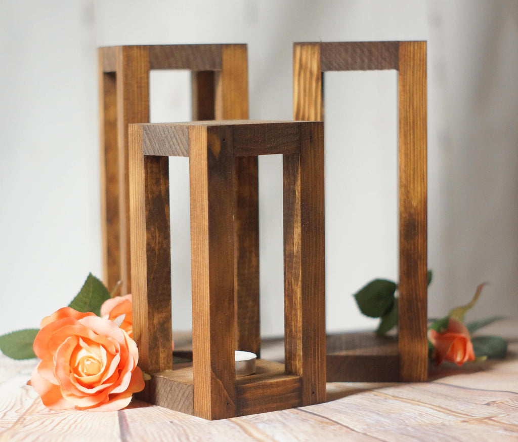 3 Rustic Wood Candle Lantern Set, Wedding Centerpiece-Wedding-GFT Woodcraft