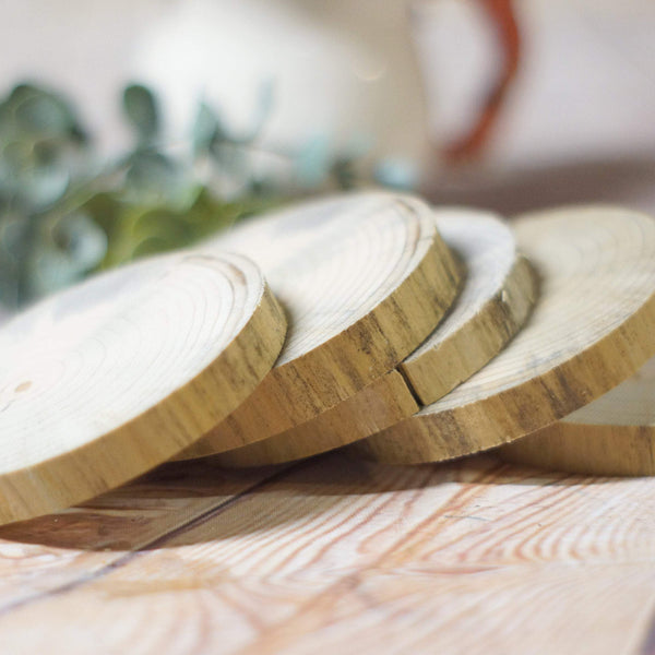 5 Natural Tree Wood Coasters, Tree Branch Wood Discs-HOME DECOR-GFT Woodcraft