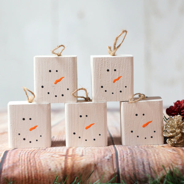 5 Snowman Christmas Ornament set, Hand Painted-Christmas-GFT Woodcraft