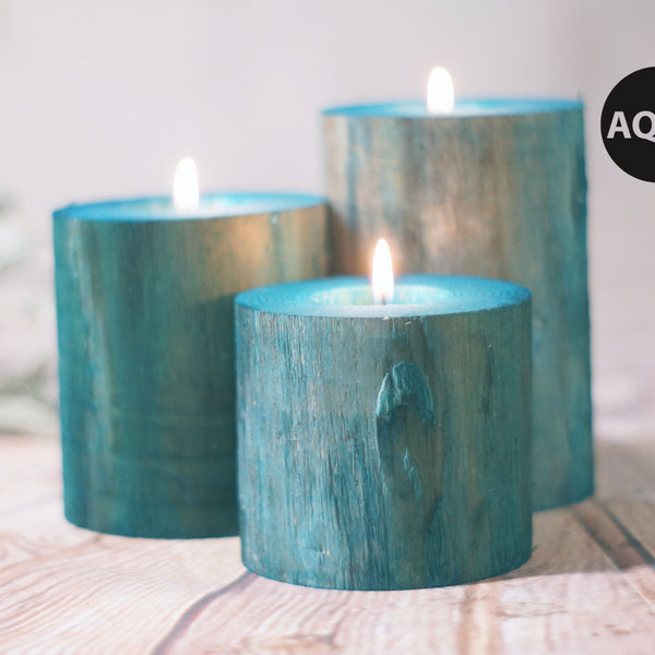 Log Candle Holder Set of 3, Various Colors Available-Candle Holders-GFT Woodcraft
